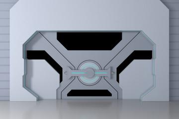 Futuristic metallic gate