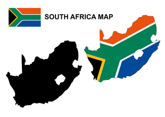 South Africa map vector, South Africa flag vector
