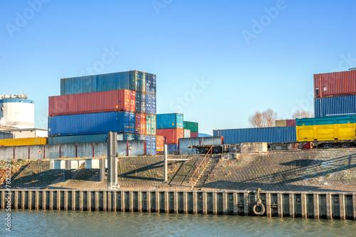 canvas print picture Binnenhafen, Container