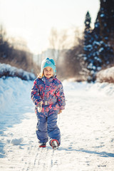 Portrait of a girl in winter forest