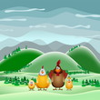 Happy Easter theme card, Funny chicken family, vector illustrati