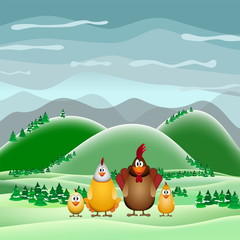 Happy Easter theme card, Funny chicken family, vector illustrati