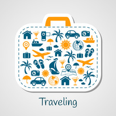 Travel holiday suitcase paper cut