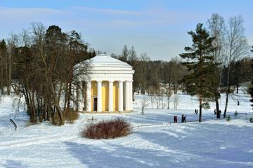 Winter landscape of the Pavlovsk garden. Temple of Friendship