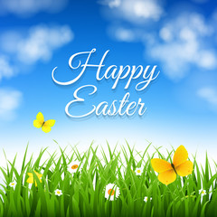 Easter Background With Grass