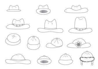 linear variety cartoon hats
