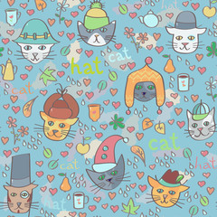 Cats in hats seamless pattern