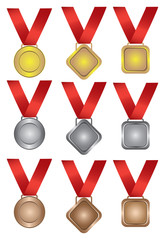 Collection of medals in gold, silver and bronze