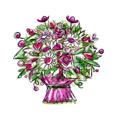 Floral bouquet, sketch for your design