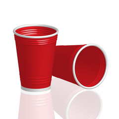 Party red plastic cup isolated on white background