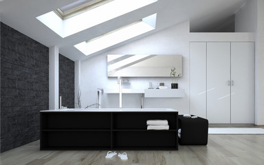 Interior of Modern Bathroom with Skylights