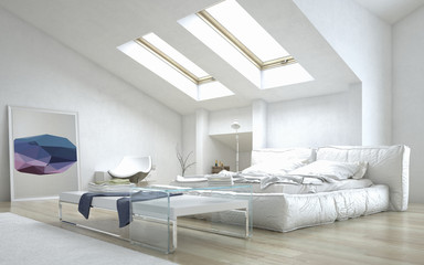 Architectural Bedroom with Glass Table