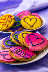 Mardi Gras cookies with icing and decorations