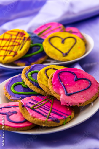 canvas print picture Mardi Gras cookies with icing and decorations