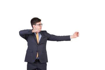 businessman holding a bow