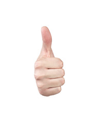 Hand showing thumb up