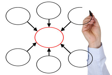 Businessman mit leerem Diagramm Thema Organisation, Business,