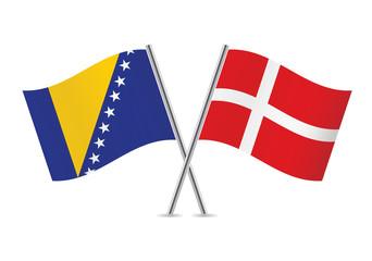 Denmark and Bosnia and Herzegovina flags. Vector illustration.