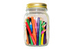 Colored pencils or crayon in widemouthed glass jar