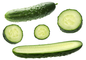 Cucumber set on white