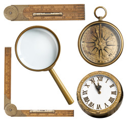 Vintage accessories set. Clock, magnifying glass, compass and