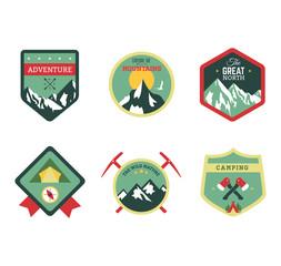 Set of vintage woods camp badges and travel logo emblems