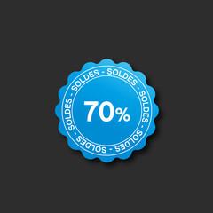 icône soldes bleu