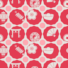 seamless background with chinese New year icons