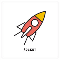 Business start up idea template. Start up rocket idea. New