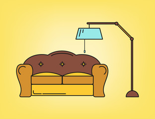 Sofa and lamp in living room