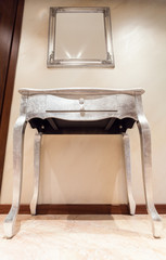 Silver table with drawer