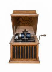 Antique Phonograph Isolated on White