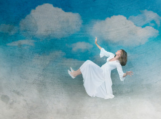 girl flying in the sky