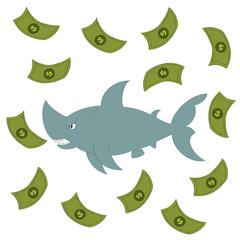 Business shark vector illustration