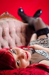 Closeup for attractive women on retro sofa