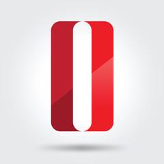 o and 0 zero red logo icon vector