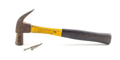 Old steel hammer  and nails on white background