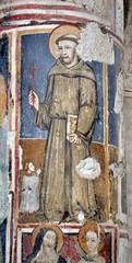 San Francesco. Particolare affresco su colonna