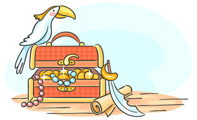 Treasure chest and a parrot