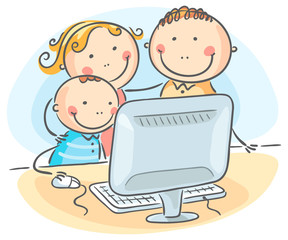 Happy family at the computer