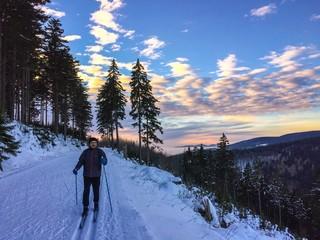 Mann fährt Ski im Thüringer Wald