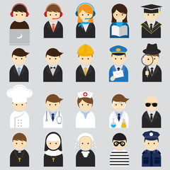 Various People Symbol Icons Occupation Set