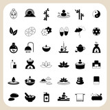 Fototapety Set of spa and massage icons