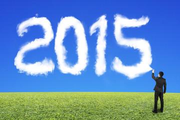 Businessman spraying white 2015 shape cloud with blue sky grass
