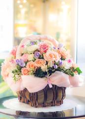 pastel flowers in basket
