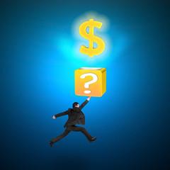 Man hitting question mark box opening glowing golden dollar sign