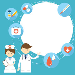 Doctor and nurse Present with Icons and Copy Space