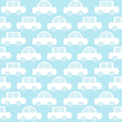 Blue baby boy seamless background with cartoon cars