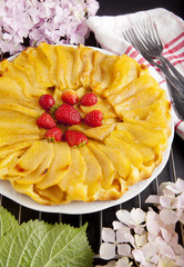 tart Tatin with fresh apples and flowers. fresh pastries. pie. F