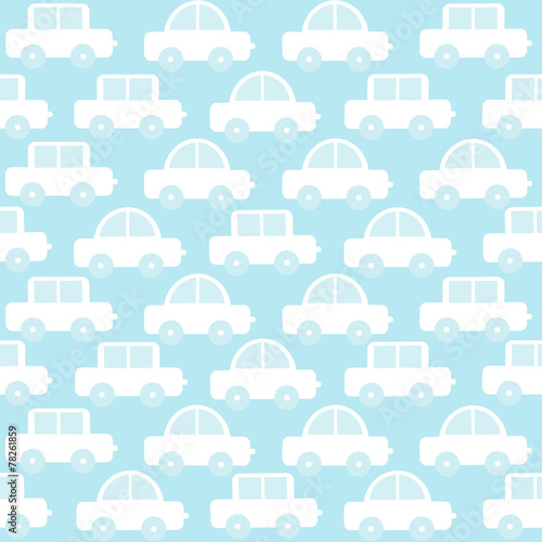 Blue baby boy seamless background with cartoon cars - 78261859